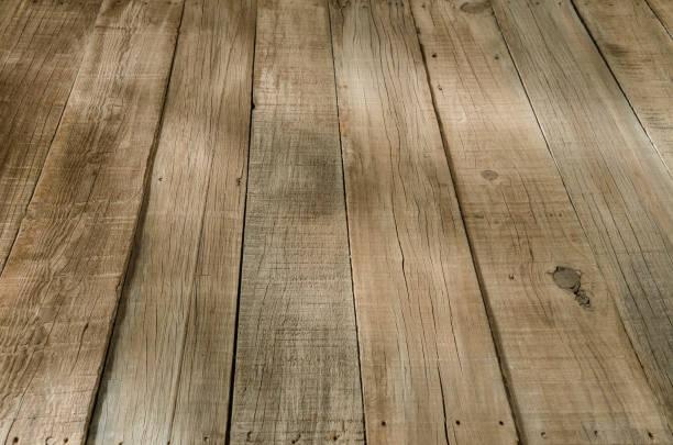 Rustic wooden floorboard stock photo
