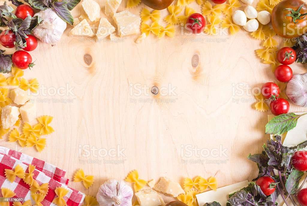 Rustic Wooden Food Background With Italian Ingredients Royalty Free Stock Photo