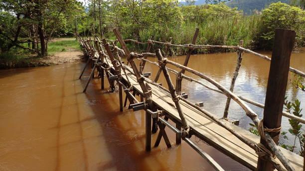 Rustic Wooden Footbridge stock photo