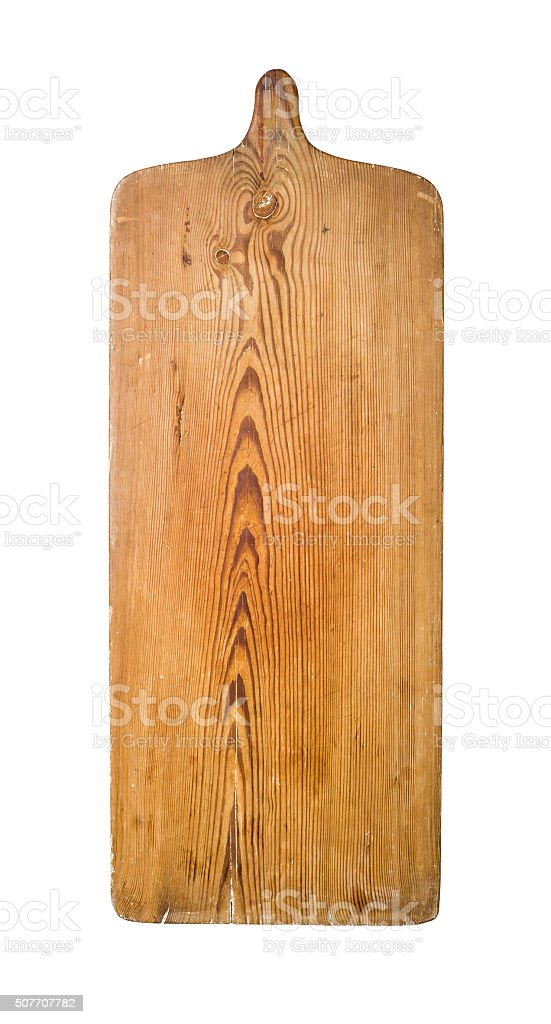 Rustic wooden kitchen board on a white background stock photo