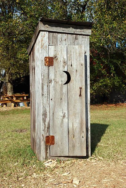 Rustic Wooden Outhouse stok fotoğrafı
