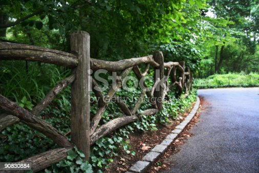 istock Rustic Wooden Railed Fence in Central Park, NYC 90830884
