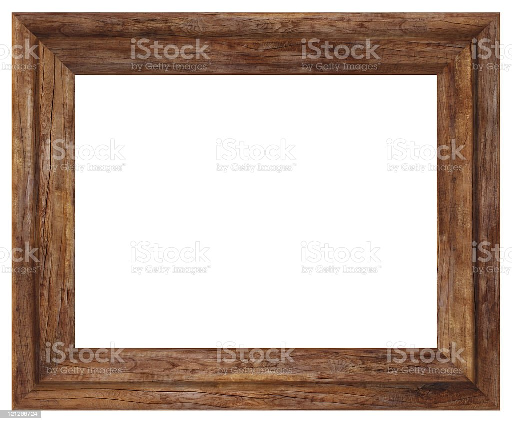 Rustic wooden rectangular picture frame with bevel border stock photo