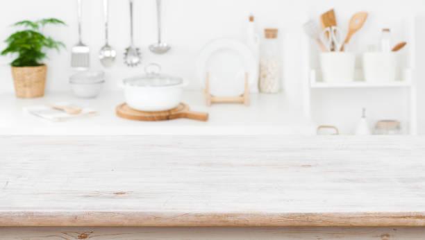 Rustic wooden table top on blurred kitchen shelf background picture id1129309966?b=1&k=6&m=1129309966&s=612x612&w=0&h=iuw1beceyudi9obxrivo05l9zp2sfcdd5xww7qapqyy=