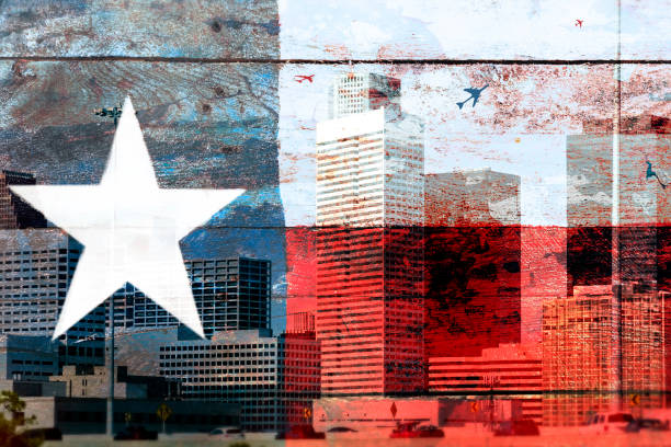 Rustic wooden Texas flag with Houston business skyline background. stock photo