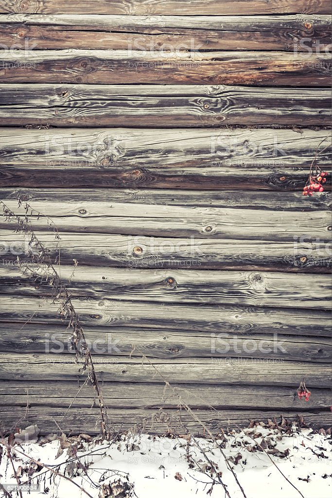 Rustic Wooden Wall Of Cabin With Snow As Winter Background Stock
