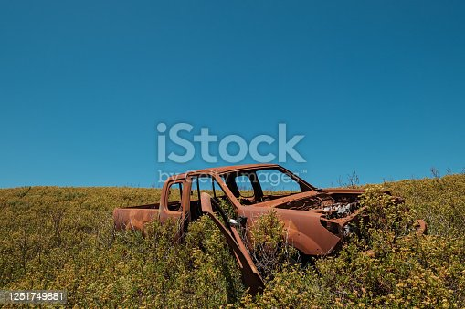 istock Rusting abandoned truck in the maquis in Corsica 1251749881