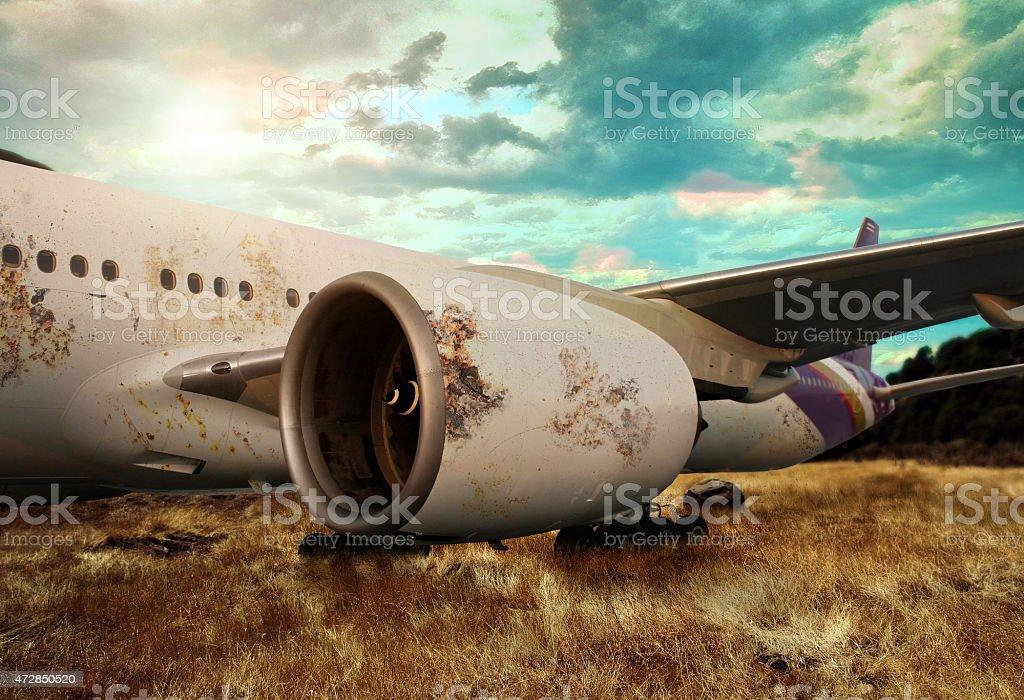 rusting airplane stock photo
