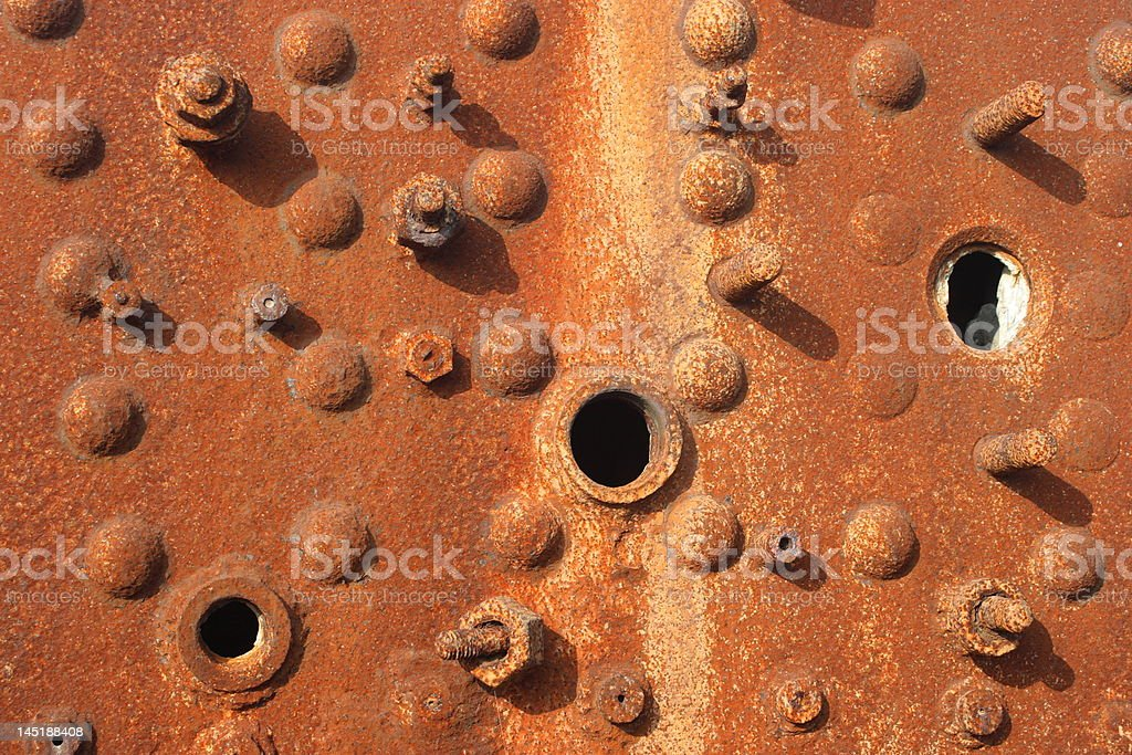 Rusting metal and bolts on a steam train. royalty-free stock photo