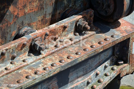 Detail of a rusting part of an old train