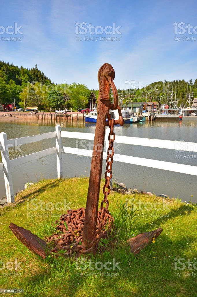 Rusty Anchor at St Martins New Brunswick stock photo