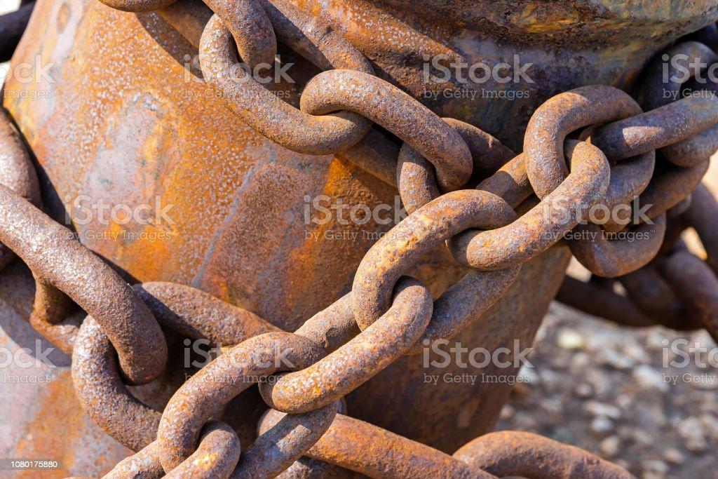 rusty anchor chain closeup stock photo