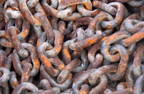 Rusty Anchor Chain stock photo