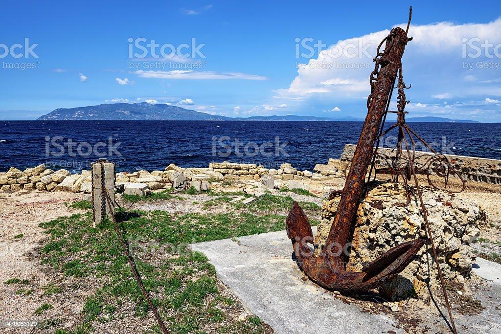Rusty anchor  on Pianosa Island, Tuscany Italy stock photo