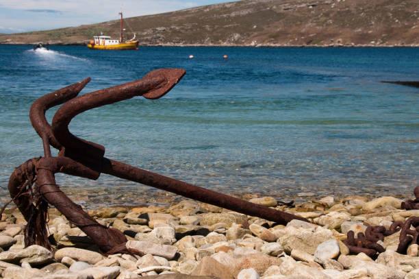 Rusty âncora na ilha Westpoint - foto de acervo