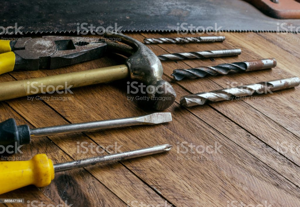 Tool set on a wooden background