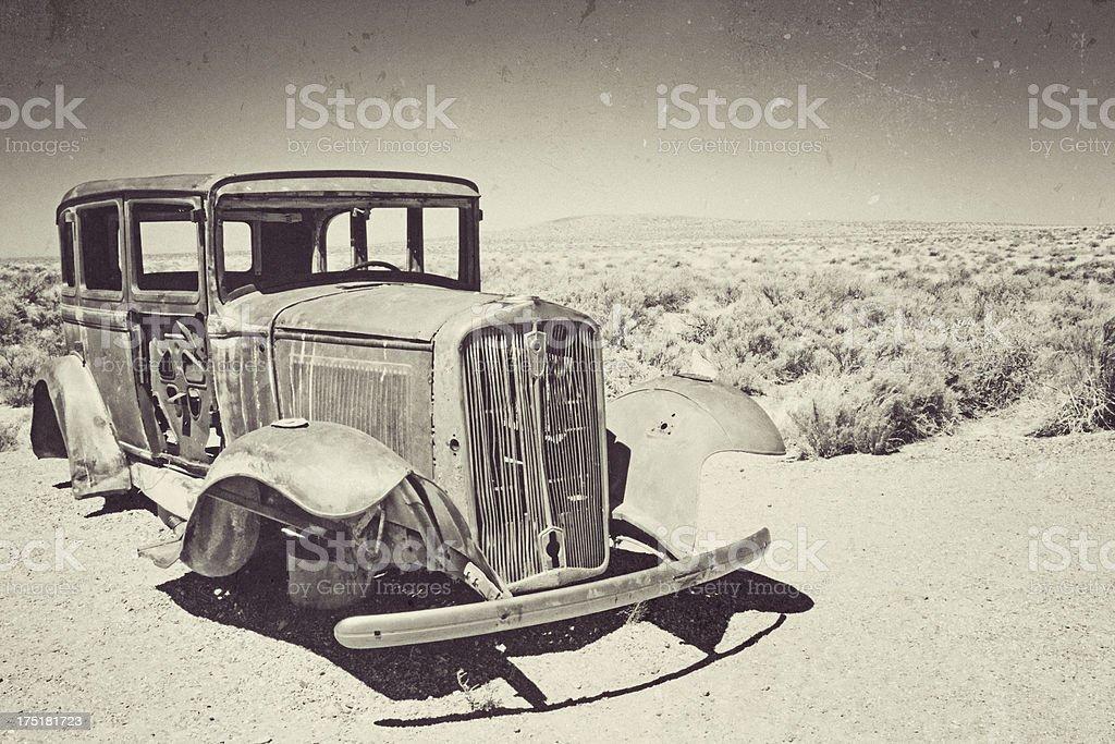 Rusty Antique Car in the Arizona Desert royalty-free stock photo