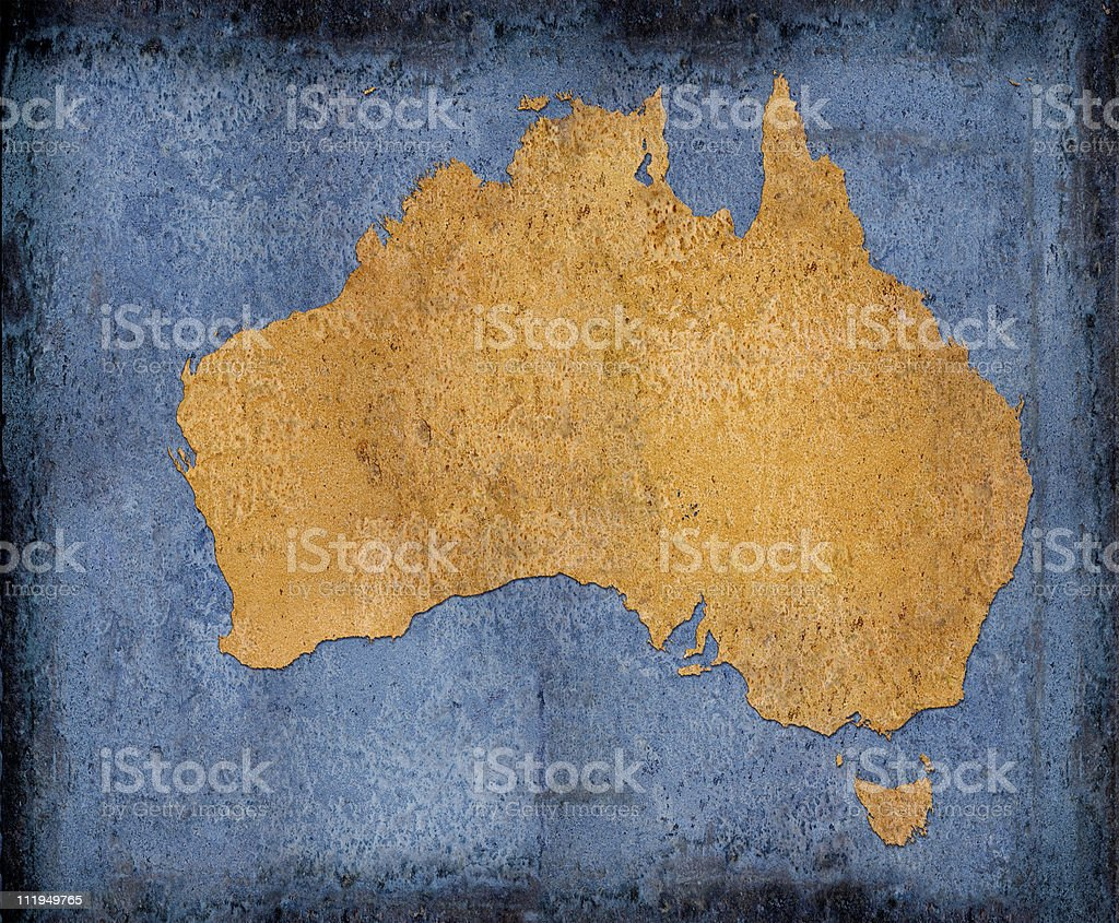 Rusty Australia on blue toned background royalty-free stock photo