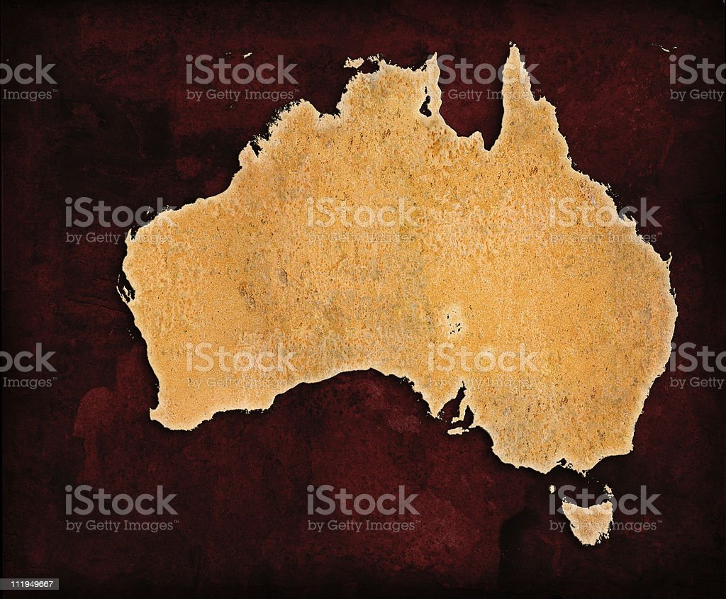 Rusty Australia on red grungey background royalty-free stock photo