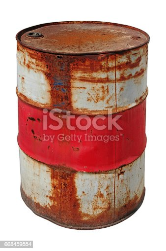 Rusty barrel isolated over white background