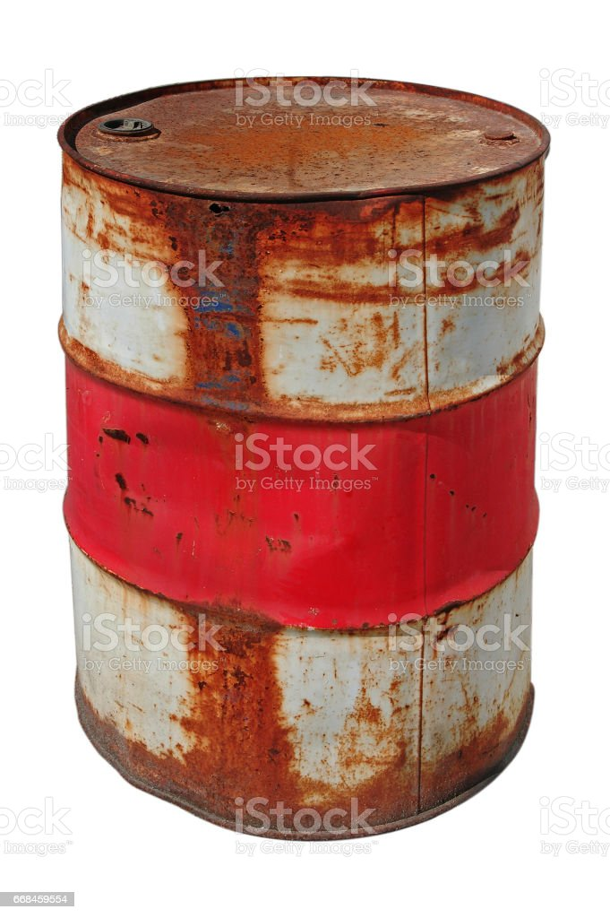 Rusty barrel isolated - foto de acervo