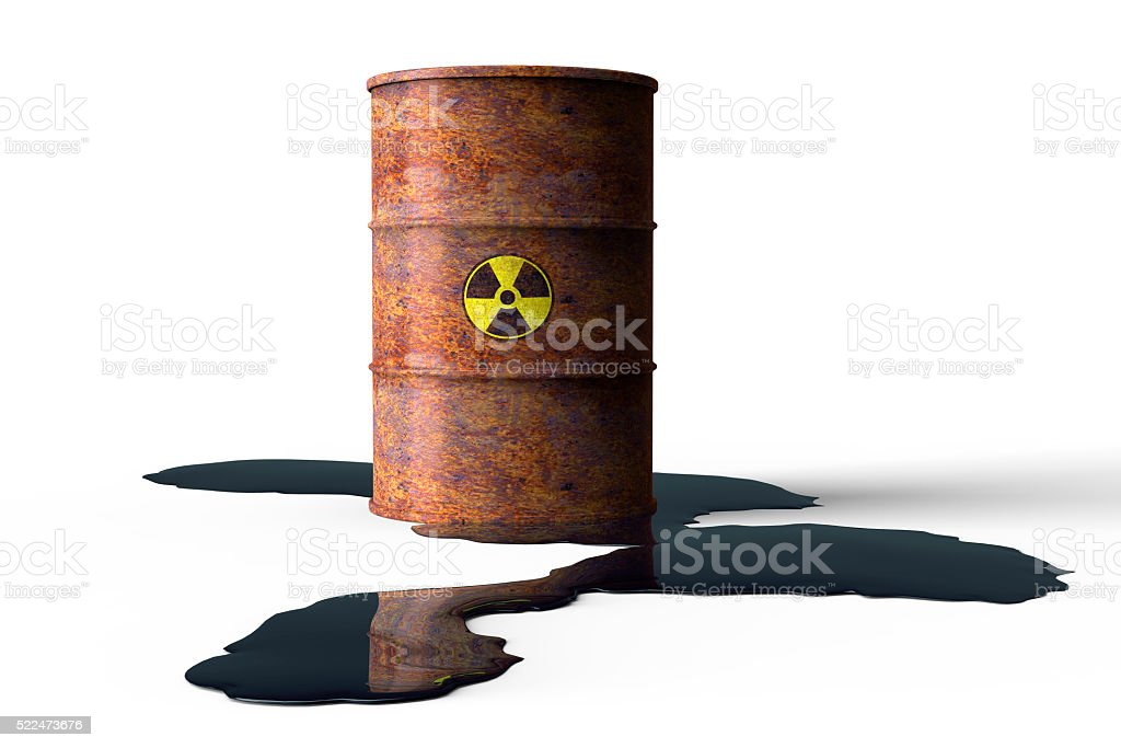 rusty barrel leaking oil isolated on white stock photo