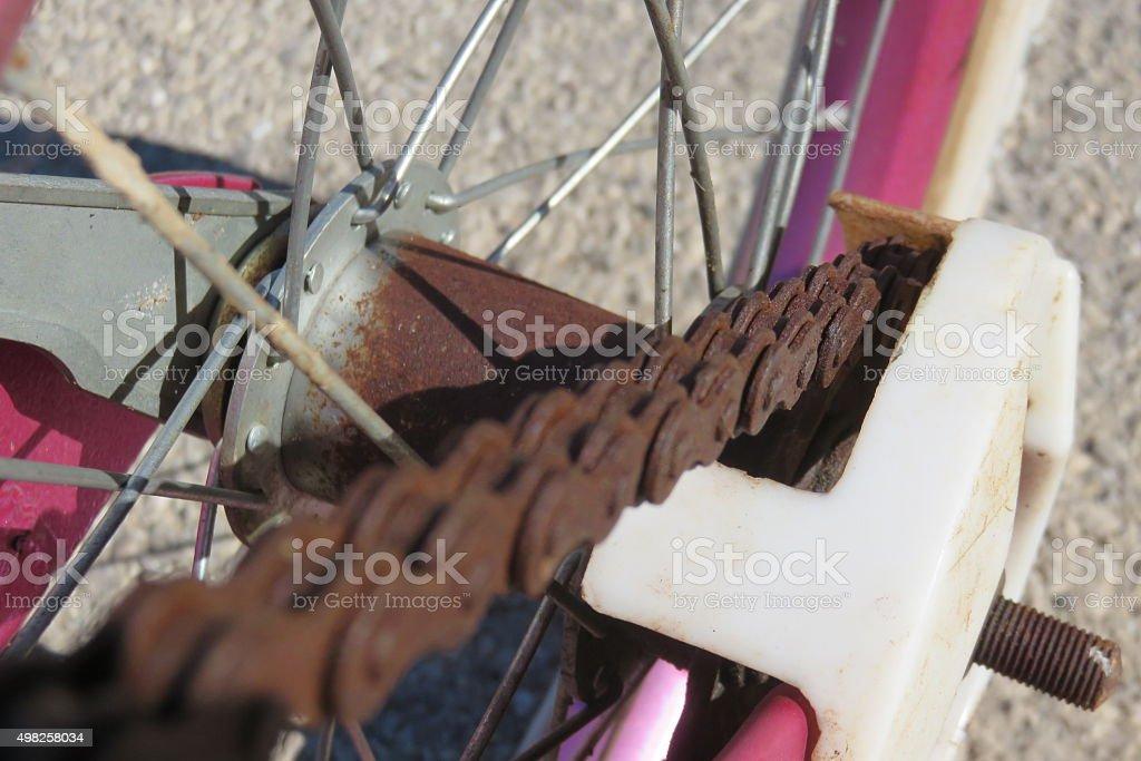 Rusty bike chain stock photo