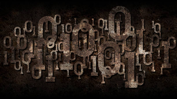 rusty binary code, matrix rusted background with binary digital code, big data, cloud service, artificial intelligence - bit binary stock pictures, royalty-free photos & images
