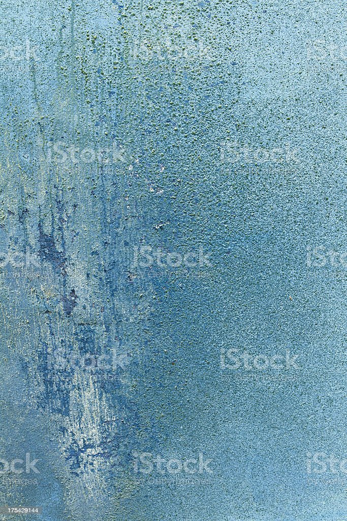Rusty blue grunge background with stains and leaks royalty-free stock photo