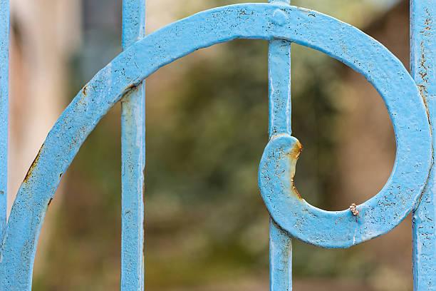 rusty blue painted metal spiral closeup. fibonacci golden ratio. - golden ratio zdjęcia i obrazy z banku zdjęć