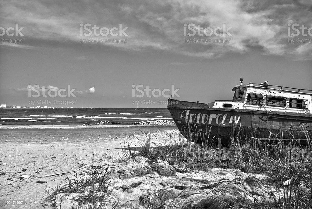Rusty Boat on the shore of Black Sea stock photo