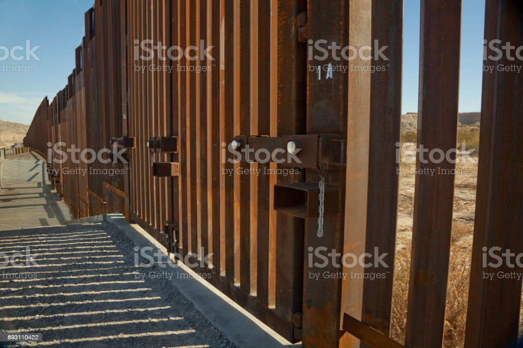 Rusty Border Wall_Fence stock photo