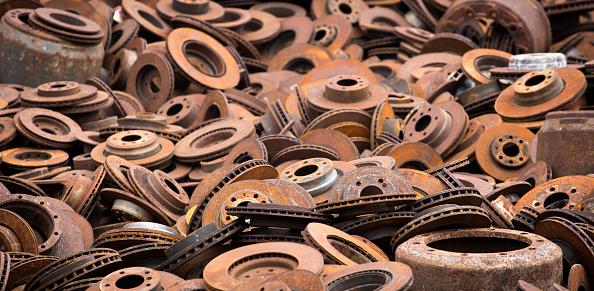 Rusty brake discs, scrapyard