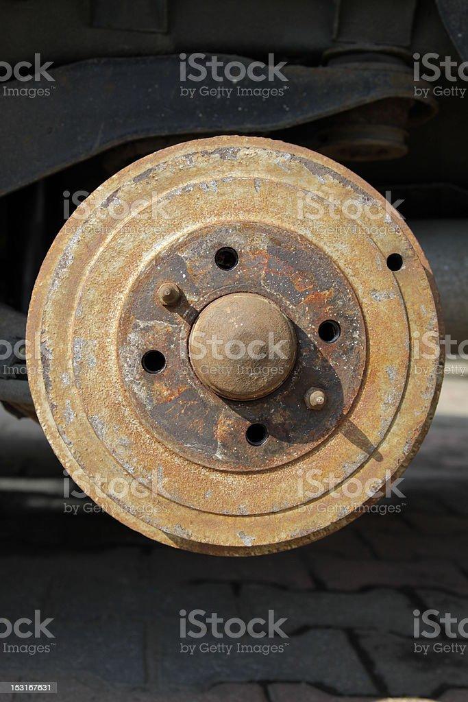 Rusty brake-drum royalty-free stock photo