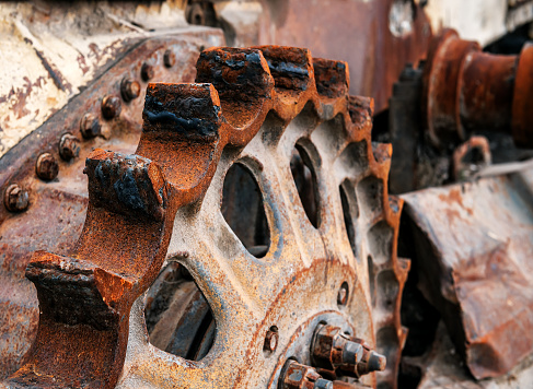 old rusty bulldozer tractor gear