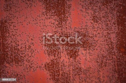 istock Rusty Burgundy Red sheet metal. Texture 666835254
