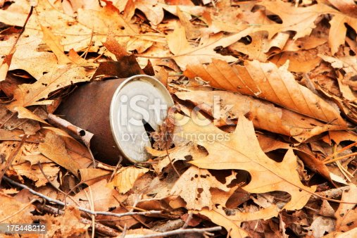 istock Rusty Can Litter Trash Leaves 175448212