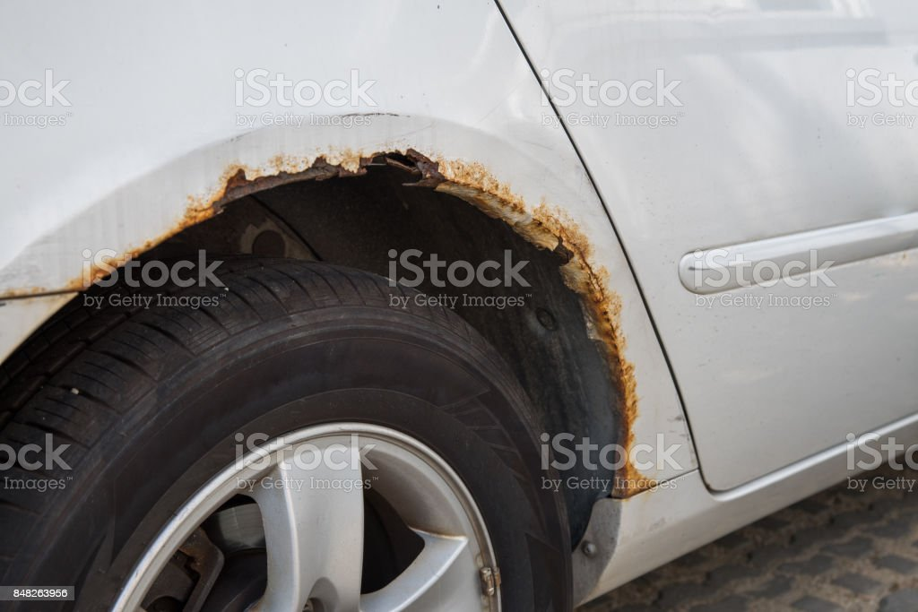 Rusty car wing. stock photo