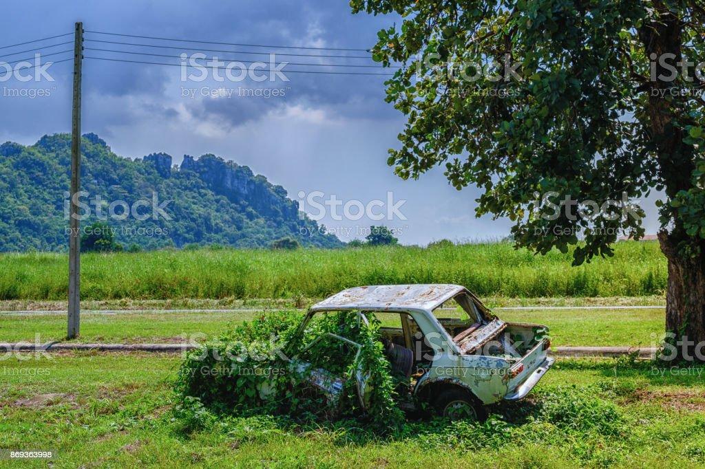 Rostiges Autowrack, verfallenes altes Auto ist bewachsen mit Rasen, ein altes Schrottauto, die verlassenen Bergen unter dem Baum wurde verrostet – Foto