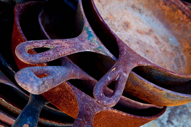 Rusty Cast Iron Skillets stock photo