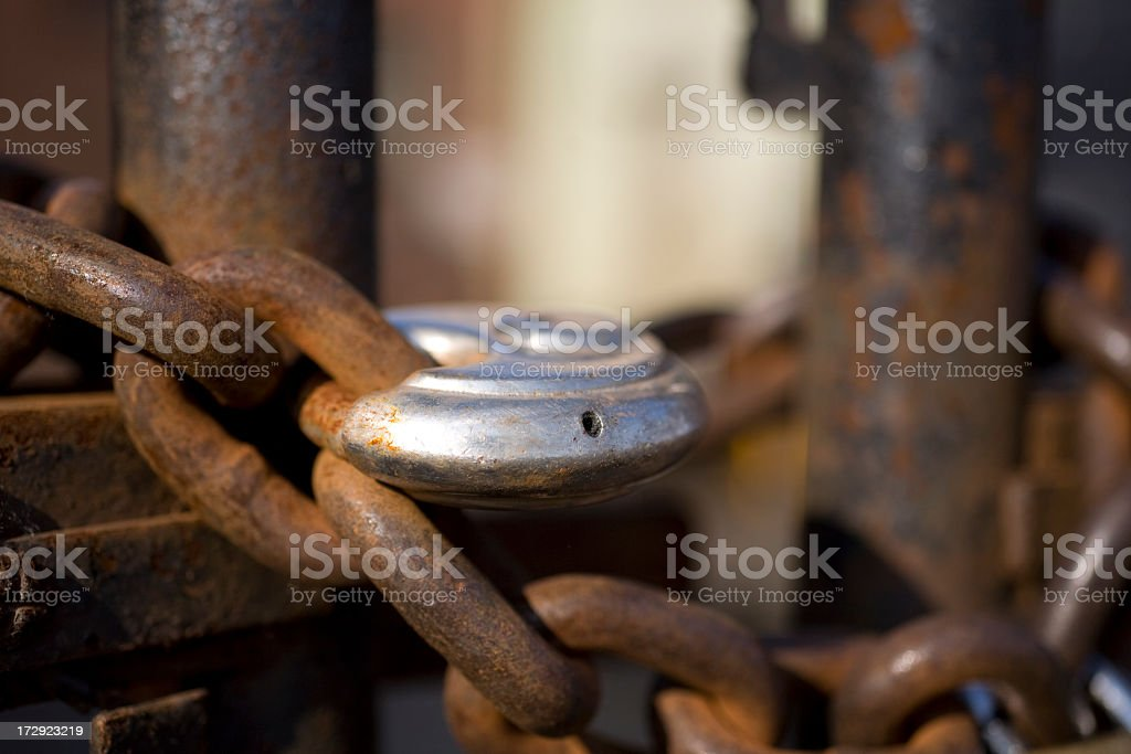 Rusty chain and bolt royalty-free stock photo