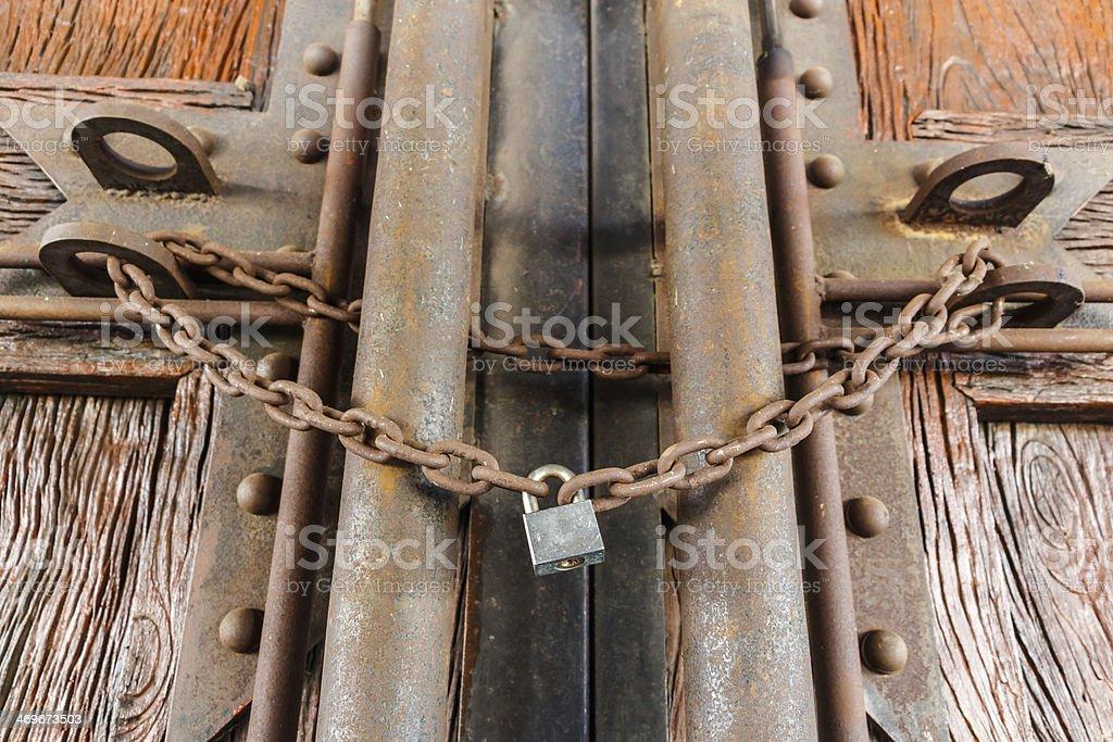 rusty chain and master key stock photo