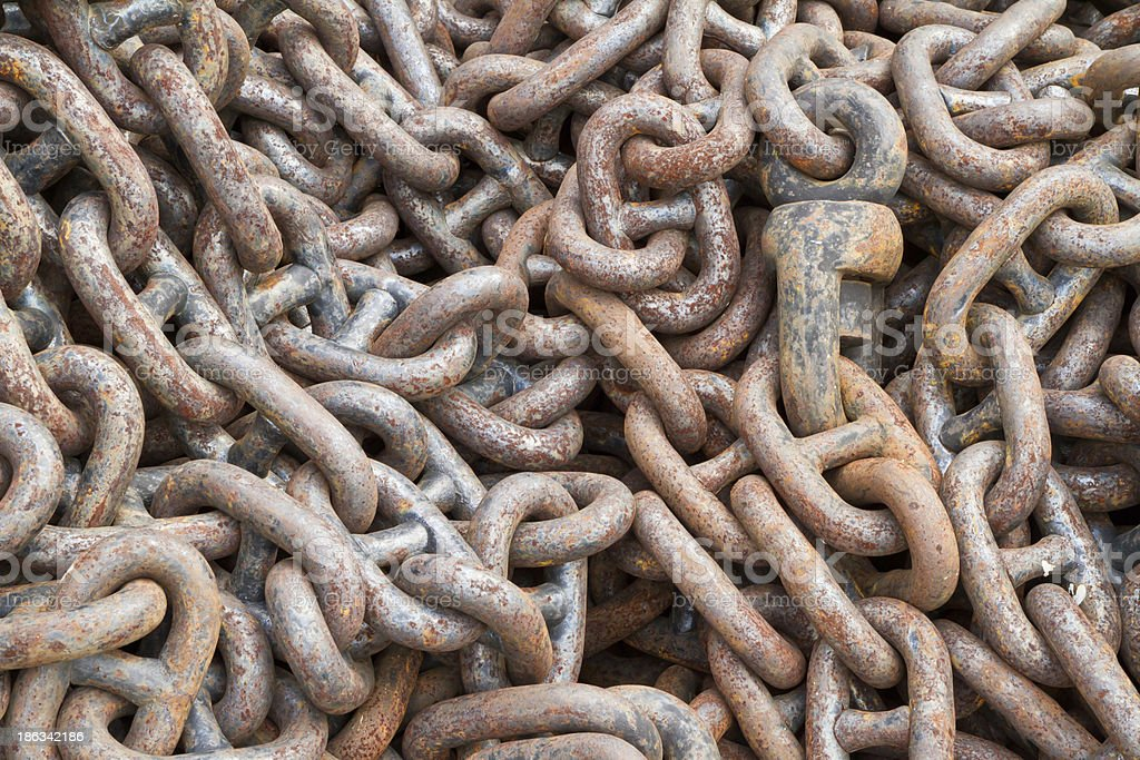 Rusty chain for ship royalty-free stock photo