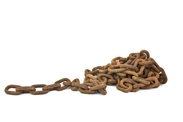 rusty chain isolated stock photo