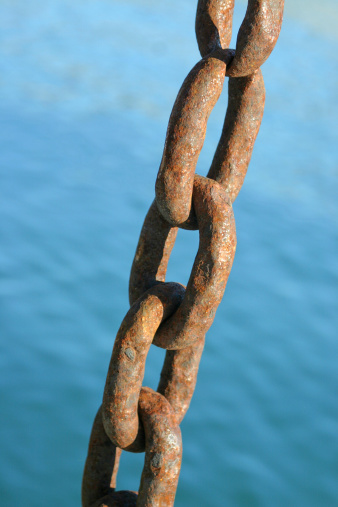 Old rusty chain for ships in harbour