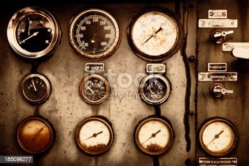 old rusty gauges, film grain added,