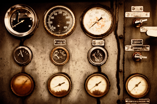 Rusty Control Panel of the Old Military Fire Truck
