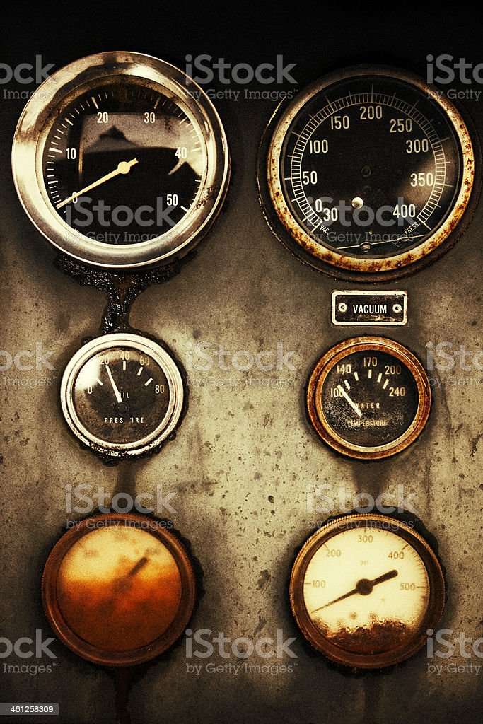 Rusty Control Panel of the Old Military Fire Truck stock photo