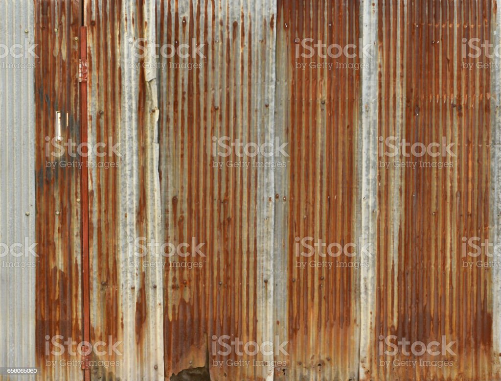 rusty corrugated iron metal, Zinc wall, background - foto de stock