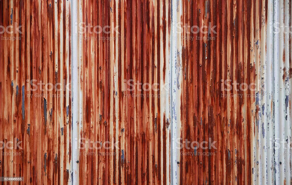 Rusty Corrugated Metal Fence Close Up Zinc Wall Stock